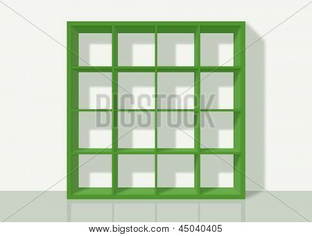 Green Empty Square Bookshelf On White Wall Background