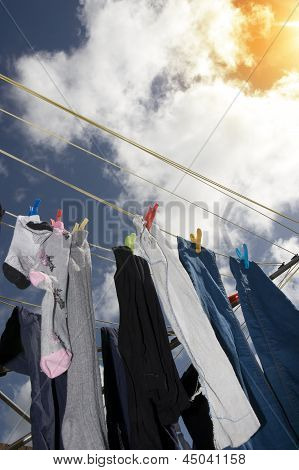 Wet Clothes On A Washing Line