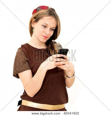 young woman which read by phone on white background