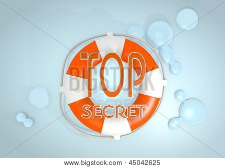 3d graphic of a safed top secret icon rescued by a lifesafer