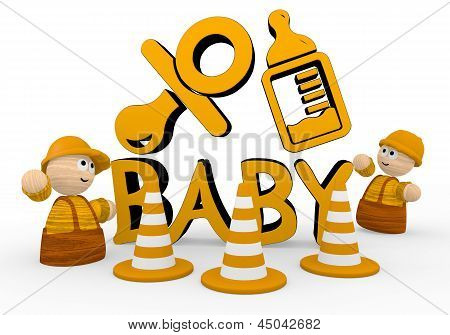 baby icon  with two cute 3d characters