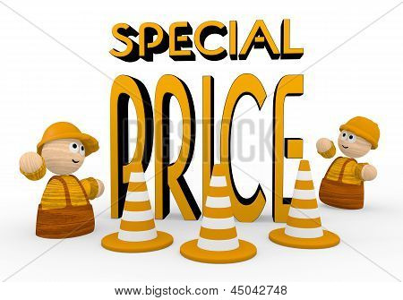 special price symbol  with two cute 3d characters