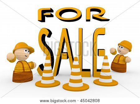 Illustration of a cute sale symbol  with two cute 3d characters