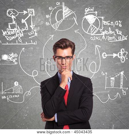 homem de negócios jovens pensando em todos os aspectos de um problema