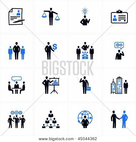 Management und Human Resources-Icons - blaue Serie
