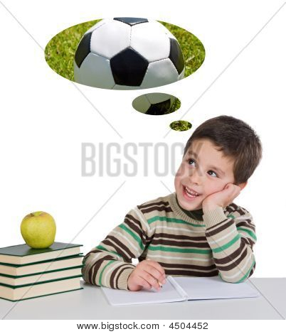 Funny Guy In Class Thinking About Playing Soccer