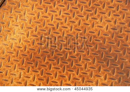 Rusted Metal Manhole Cover With Herringbone Pattern