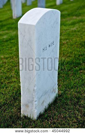 White Marble Headstone Or Gravestone