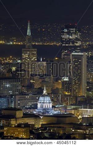San Francisco City Hall Cityscape At Night
