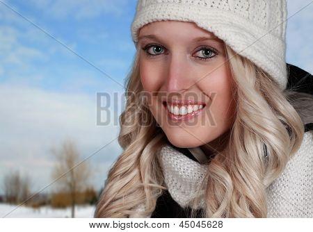 Closeup Portrait Of A Blond Woman