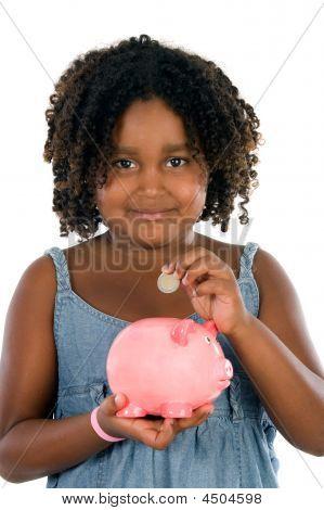 African Girl Whit Money Box