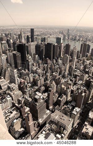 Vertical Skyline Of Manhattan