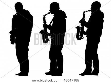 drawing of a man with saxophone on stage