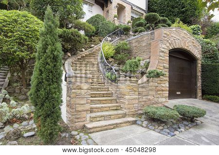 Stone Veneer Facade On Home Exterior