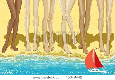 Illustration long legs of six women standing on the beach. All objects are grouped.
