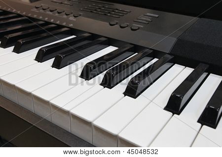 synthesizer keys under the white background
