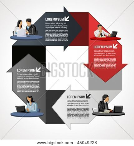 Red and gray template for advertising brochure with business people over arrows