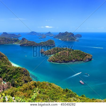 Tropical island nature, Thailand sea archipelago aerial panoramic view. Ang Thong National Marine Park near ko Samui