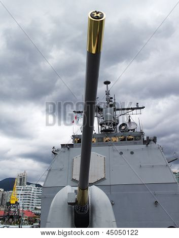 Long Gun On Naval Vessel