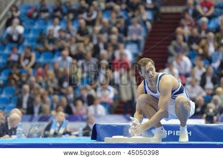 MOSCOW, RUSSIA - APRIL 20: Alexander Shatilov, Israel prepares to the floor exercise in the final of 5th European Championships in Artistic Gymnastics in Moscow, Russia on April 20, 2013