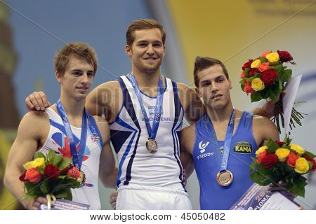 MOSCOW, RUSSIA - APRIL 20: Winners in floor exercise on 5th European Championships in Artistic Gymnastics in Moscow, Russia on April 20, 2013. From left: Whitlock, GBR, Shatilov, ISR, Cingolani, ITA