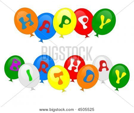 Happy Birthday Balloons Isolated