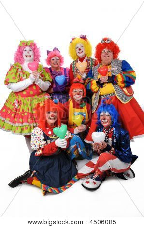 Clowns Holding Hearts