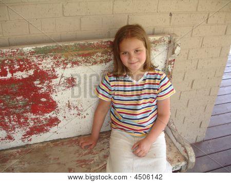 Girl Porch Bench Smile
