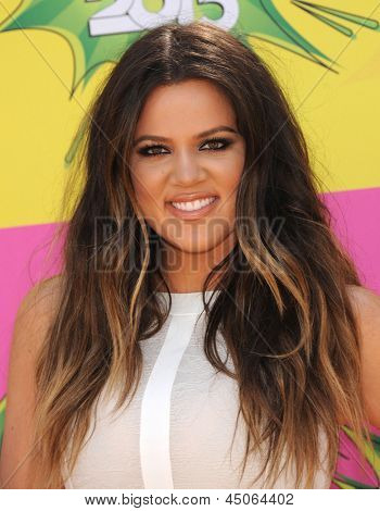 LOS ANGELES - MARCH 23:  Khloe Kardashian arrives to the Kid's Choice Awards 2013  on March 23, 2013 in Los Angeles, CA.
