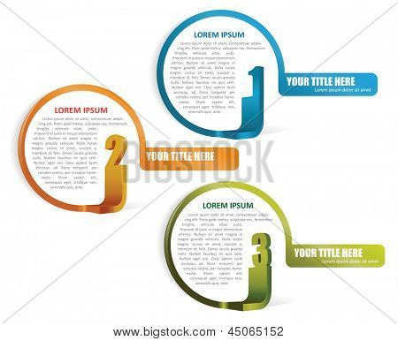 Set of three colored vector elements for text with numbers for brochure, flyer or website
