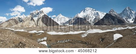 K2 And Karakorum Peaks Panorama At Concordia, Pakistan