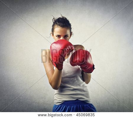 young woman boxer