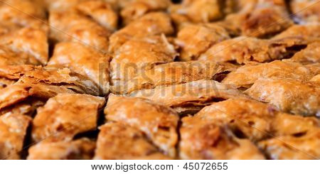 Homemade baklava - Turkish filo sweet pastry 03