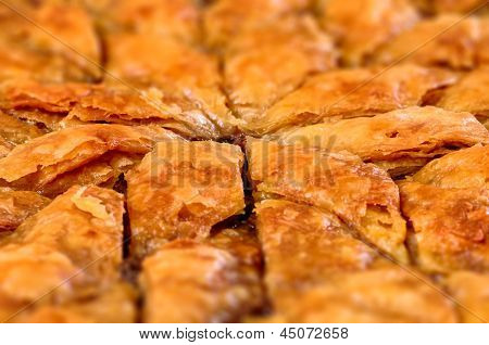 Homemade baklava - Turkish filo sweet pastry 02