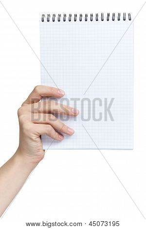 Female Teen Hand Holding Notebook On A Spring