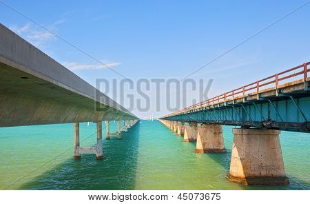 Bridges going to infinity. Seven Mile bridge in Key West Florida