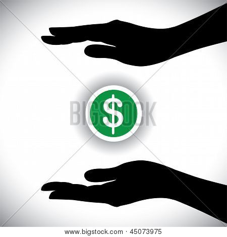 Vector Illustration Of Protecting Or Saving Dollar(money)