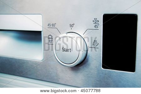 Control Panel Of Steel Dishwasher