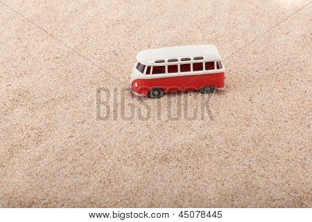 The Little Bus Is Standing At The Beach