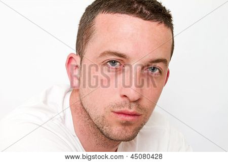 Man Staring With Sad Expression