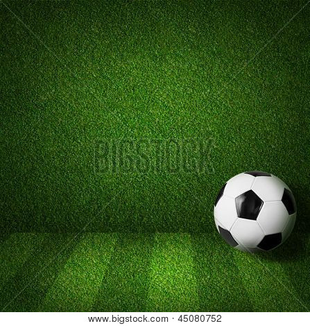 Fußball oder Fußball Spielfeld Seitenansicht mit ball