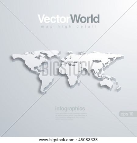 World map 3D vector illustration. Useful for infographics Global concept.