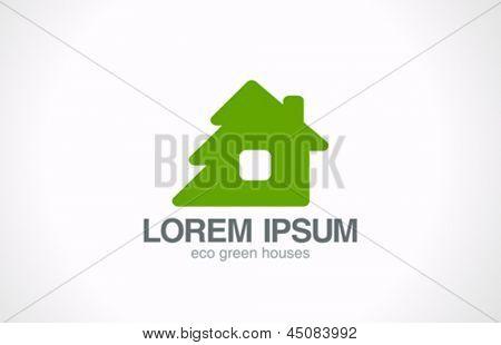 Green wooden eco house logo template. Ecology living concept icon.  Bio natural life idea. Realty. Real estate. Vector. Editable.