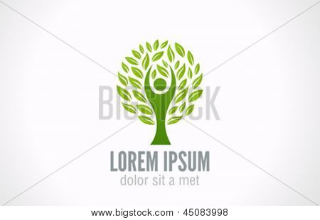 Eco Green Tree logo template. Bio Man abstract icon.  Ecology concept.