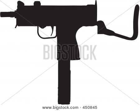 Sub-machine Gun Illustration With Clipping Path
