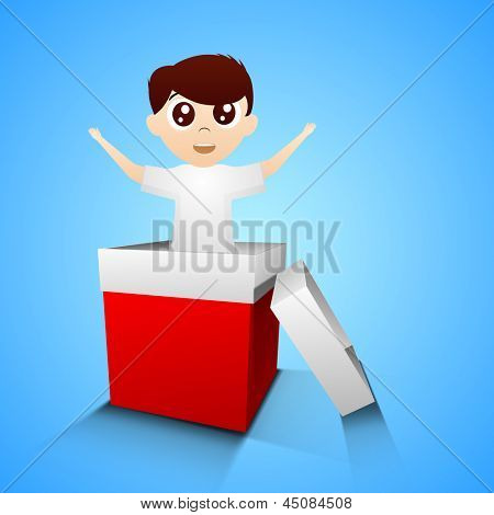Happy Fathers Day background with a son in red gift box on blue background.