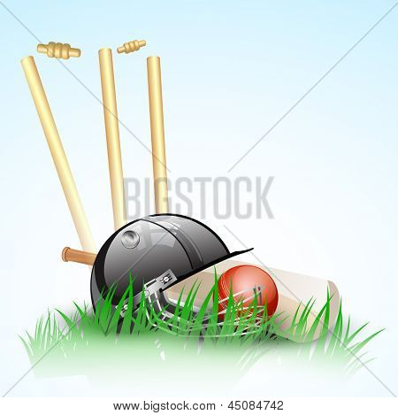 Abstract cricket background with stumps, ball and helmet.