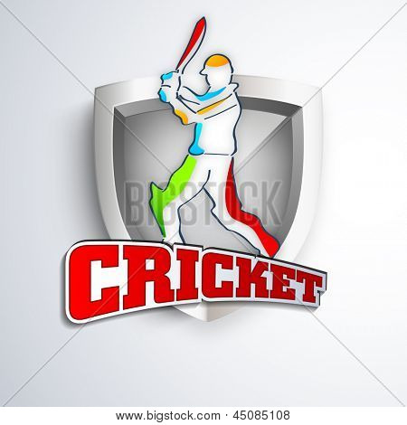 Colorful illustration of a batsman in playing action on winning trophy background with text cricket.