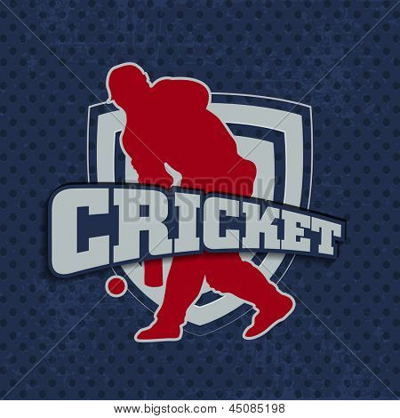 Silhouette of batsman in playing action on winning trophy background with text cricket.