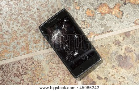 Dropped Smartphone With Cracked Display